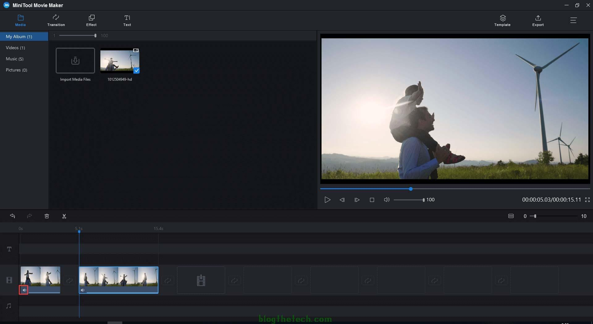 Delete a part of the original track MiniTool MovieMaker
